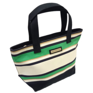 バケーションキャンバスバッグ(緑・黒ボーダー) - VACATION CANVAS BAG GREEN&BLACK-BORDER