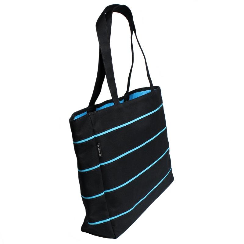 ストライプトートバッグ 黒・青 – STRIPE TOTE BLACK&BLUE