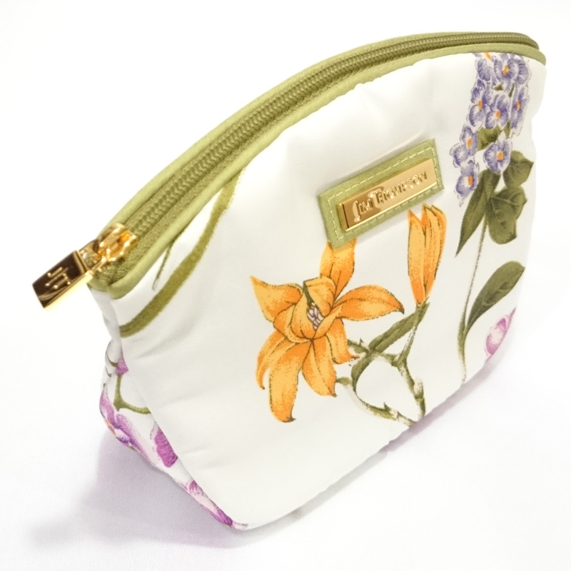 コスメポーチ花柄(白) - COSMETIC POUCH FLOWER WHITE