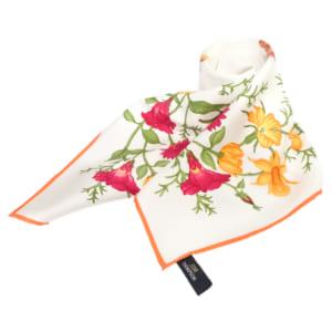 スカーフ 花柄(白・オレンジ) - SCARF FLOWER DESIGN WHITE&ORANGE