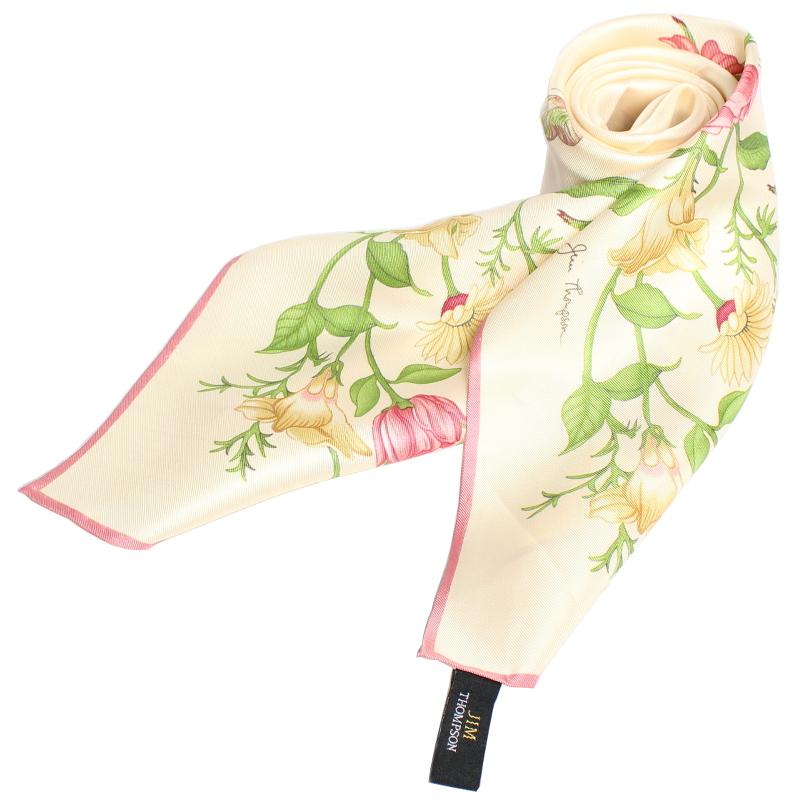 スカーフ 花柄(ベージュ) - SCARF FLOWER DESIGN