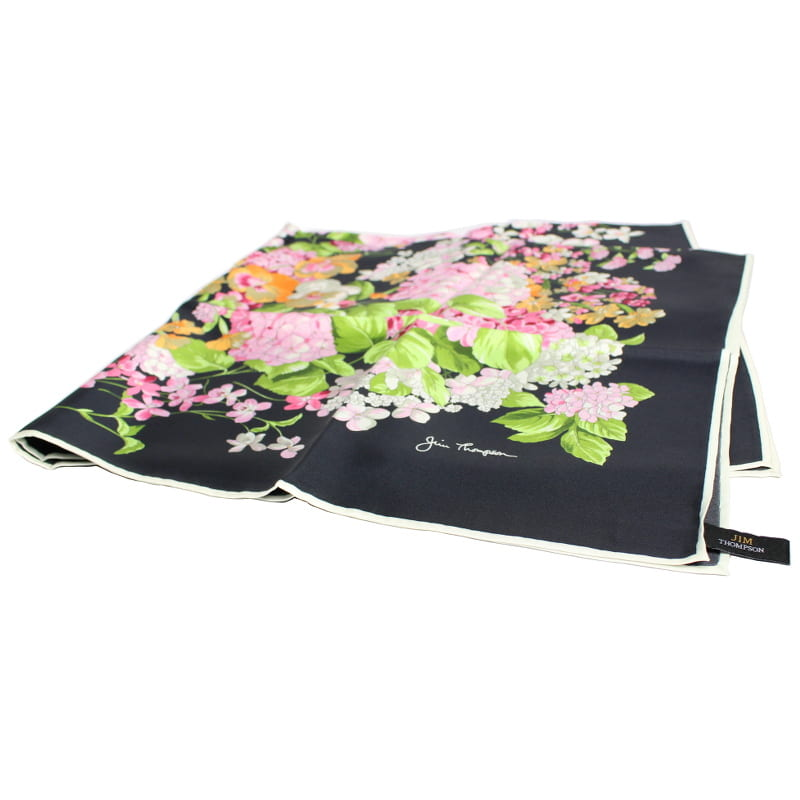 スカーフ 花柄(黒) - SCARF FLOWER DESIGN