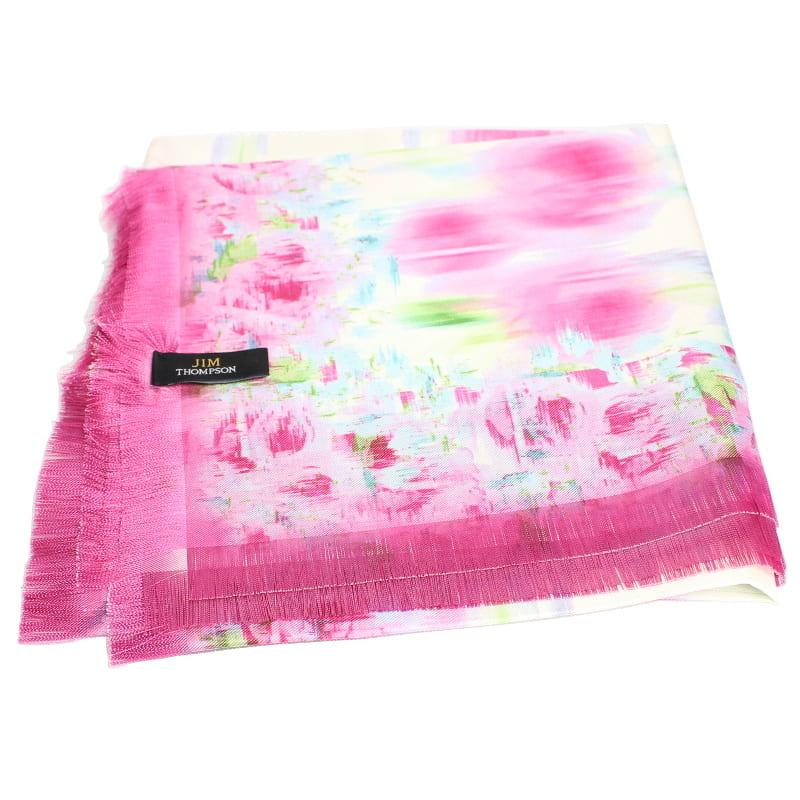 スカーフ 花柄(白・ピンク) - SCARF FLOWER DESIGN