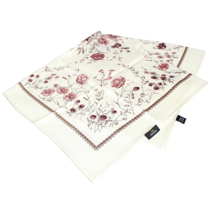 スカーフ 花柄(白・紅) - SCARF FLOWER DESIGN