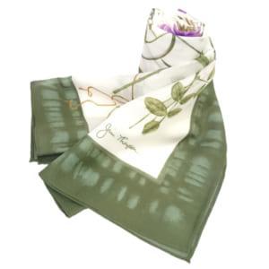 ロングスカーフ(白・緑) - LONG SCARF WHITE&GREEN