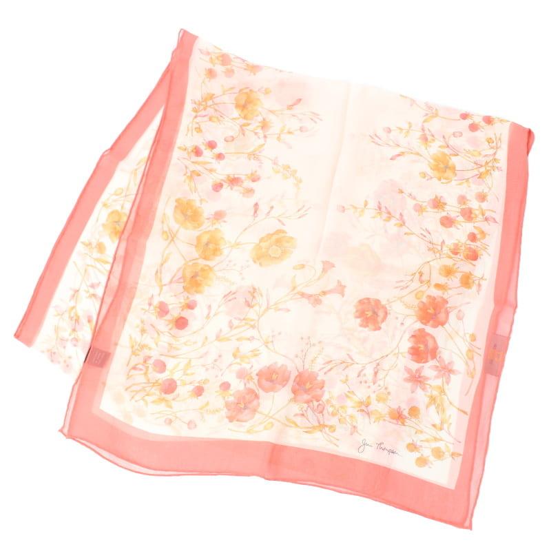 シルクロングスカーフ 花柄(紅・白) – ジムトンプソン【タイシルク100%】
