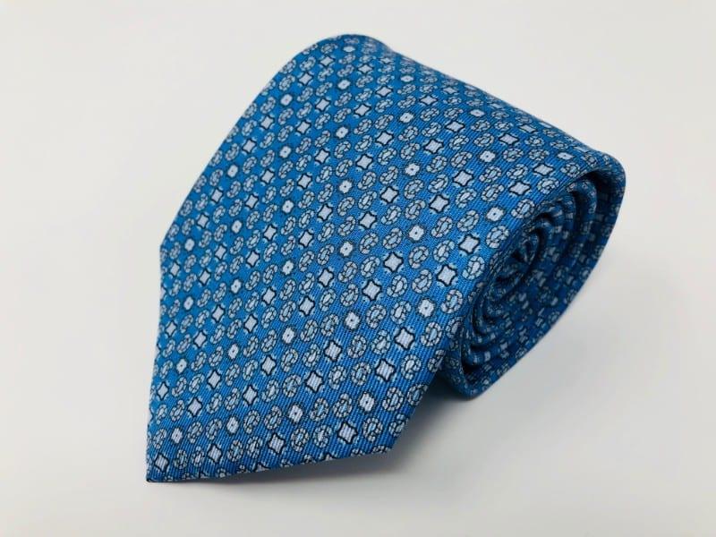 シルクネクタイ(小紋・水色)−ジムトンプソン【タイシルク100%】
