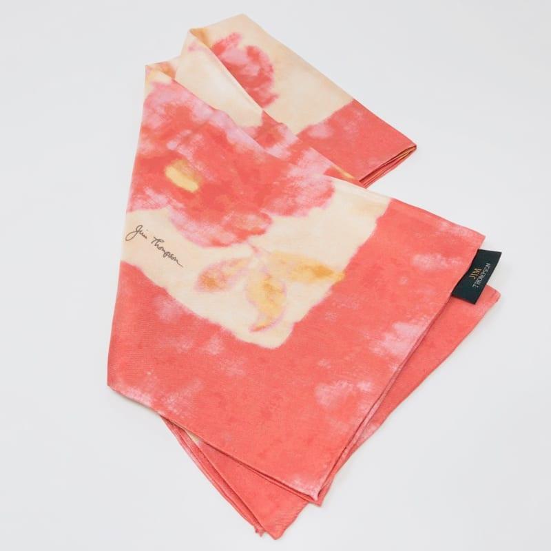 シルクスカーフ 花柄(ピンク) - ジムトンプソン【タイシルク100%】